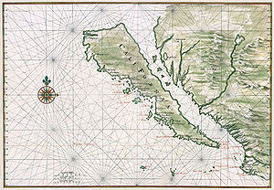 Island of California - Map of California, circa 1650; restored. The compass rose in the center of the map marks the approximate location of the modern US-Mexico border, south of San Diego.
