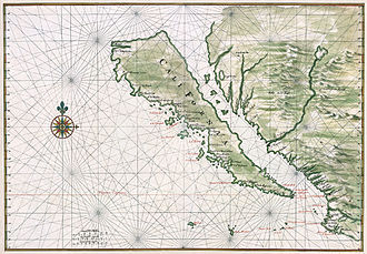 History of California before 1900 - California was misrepresented in early maps as an island. This example c. 1650. Restored.
