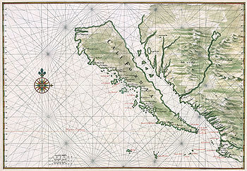 Carta della California, rappresentata come un'isola verso il 1650 (immagine restaurata).