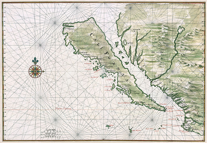 Modern day Baja California was misrepresented in early maps as an island. This example c. 1650. Restored. California island Vinckeboons5.jpg