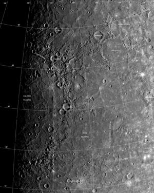 English: Mariner 10 photomosaic of Caloris Bas...