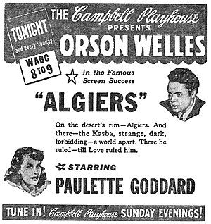 "Algiers (film) - Newspaper advertisement for The Campbell Playhouse presentation of ""Algiers"" (October 8, 1939)"