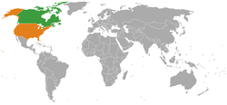 Map indicating locations of Canada and USA