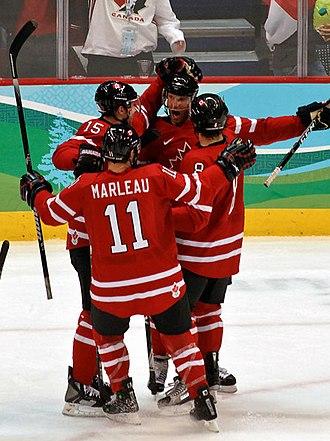 Joe Thornton - Image: Canada vs Germany goal celebration crop