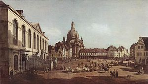 Treaty of Dresden - Canaletto: Dresden, Neumarkt, oil on canvas, 1749–51