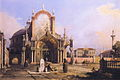 Canaletto - Capriccio of a Round Church with an Elaborate Gothic Portico in a Piazza, a Palladian Piazza and a Gothic Church Beyond.JPG