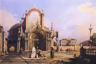 Capriccio of a round Church with an elaborate Gothic Portico in a Piazza, a Palladian Palazzo and a Gothic Church beyond