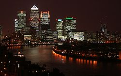 Canary Wharf at night, from Shadwell.jpg