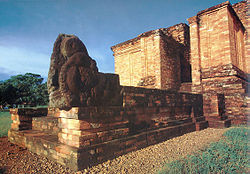 Makara, the portal guardian statue of Candi Gumpung, a Buddhist temple at Muaro Jambi archaeological site, Jambi.