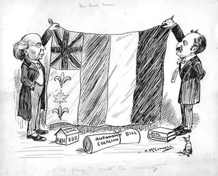 A political cartoon from 1910 on Canada's early European multicultural identity, depicting the French tricolour, the Union Jack, the maple leaf, and fleurs-de-lis Canflagcartoon.jpg