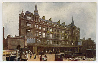 Cannon Street station - Front of original station building, c. 1910