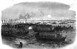 Wilmington, North Carolina in the American Civil War - Admiral Porter's boats removing torpedoes and buoying the channel in Cape Fear River, March 1865