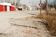 A view of the downtown of Cardin, Oklahoma, looking from the railroad tracks.