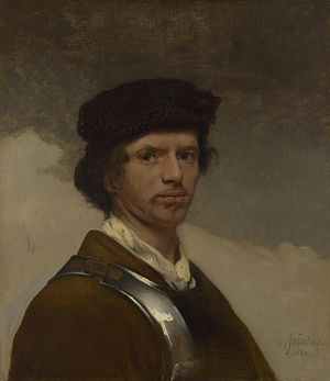 1654 in art -  Young Man in a Fur Cap, self-portrait of Carel Fabritius, not long before his death in the Delft Explosion.