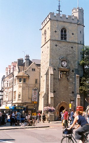 Queen Street, Oxford - Carfax Tower at the eastern end of Queen Street.