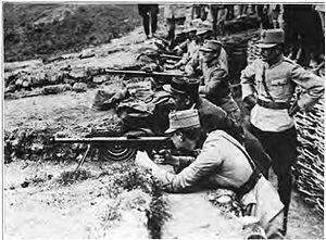 Carol II of Romania - Crown Prince Carol training during World War I with a Chauchat machine gun