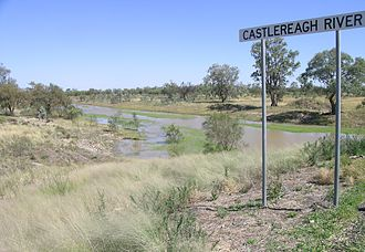 Castlereagh River - The river seen from the Castlereagh Highway, south of Walgett