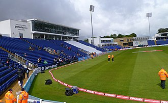 2019 Cricket World Cup - Image: Cathedral Road end, SWALEC Stadium, Cardiff, Wales