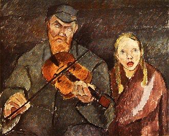 Expressionism - Alvar Cawén, Sokea soittoniekka (Blind Musician), 1922