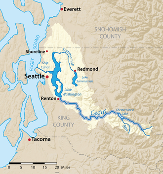 Cedar River (Washington) - Image: Cedarrivermap