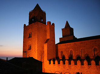 The cathedral of Cefalu at night Cefalucathedralnight.jpg