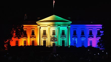 The White House was illuminated in rainbow colors on the evening of the Supreme Court same-sex marriage ruling, June 26, 2015. Celebrating a new America -lovewins 58242 (18588276403).jpg