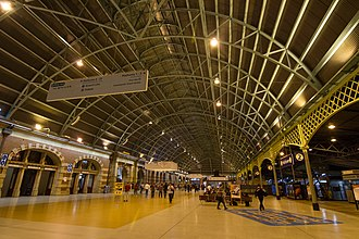 Central station is a major hub for various forms of public transport Central railway station, Sydney.jpg