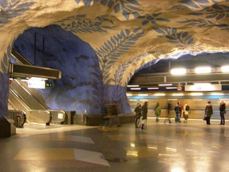 T-Centralen - The Blue Line platforms are more elaborately designed.