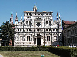 The facade of the Certosa di Pavia Monastery