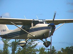 Continental O-300 - Cessna 175 showing the cowling bulge behind the propeller hub created by the GO-300 reduction gearbox