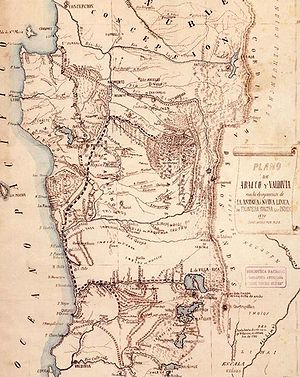 "Occupation of Araucanía - Map showing the ""old"" and the ""new"" frontier established by 1870"