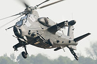 An attack helicopter in the air
