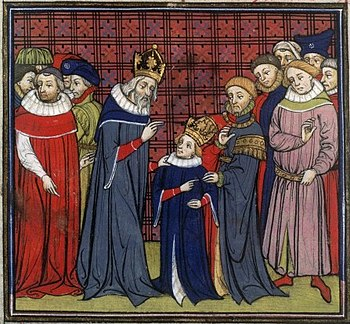 Charlemagne and the young Louis the Pious, miniature from a manuscript in the Grandes Chroniques de France, 14th century