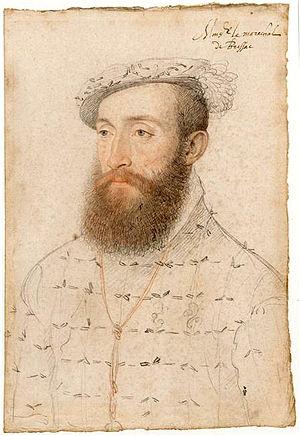 Charles de Cossé, Count of Brissac - Pencil portrait, heightened with colour, c 1550 (Musée Condé, Chantilly)