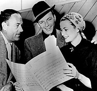 Charles Walters Frank Sinatra Grace Kelly on the set of High Society 1956.jpg