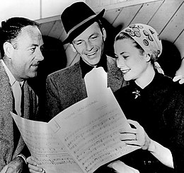 Charles Walters Frank Sinatra Grace Kelly on the set of High Society 1956.jpg