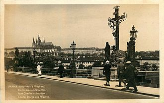Charles Bridge - Charles Bridge and the Holy Crucifix, c. 1935