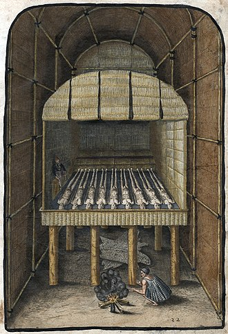 """Mississippian stone statuary - """"The Tombe of their Werovvans or Cheiff Lordes,"""" 1588 by Theodor de Bry"""