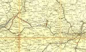 Great Western Railway - Route of the Great Western Railway on Cheffin's Map, 1850. The sweep to the north from Reading is clearly seen.
