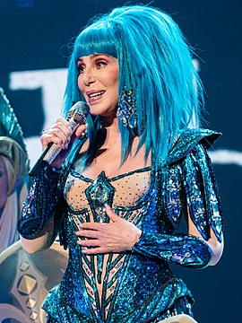 Cher performing in London during her Here We Go Again Tour in October 2019 CherO2201019-6 (48933060976) cropped.jpg