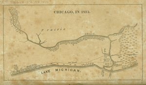 Antoine Ouilmette - Retrospective map showing how Chicago may have appeared in 1812. Ouilmette's home is shown close to the mouth of the Chicago River (right is north)