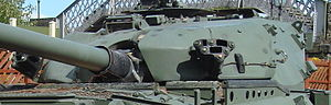 Spotting rifle - Chieftain, with the ranging gun barrel just visible above the main gun in the mantlet
