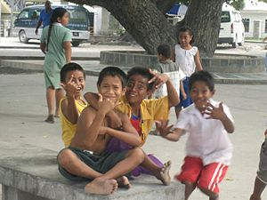 Children in Bairiki Square, Tarawa, Kiribati