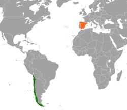 Map indicating locations of Chile and Spain