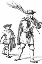 A line drawing of an 18th-century man and boy, the man carrying long tools such as a broom