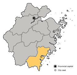 Location o Wenzhou Ceety jurisdiction in Zhejiang