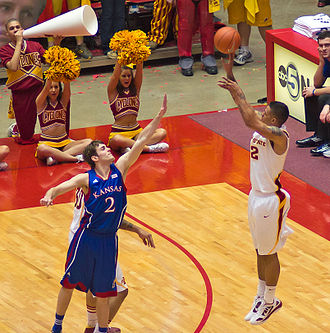 Chris Babb - Chris Babb shooting a 3-pointer against the Kansas Jayhawks