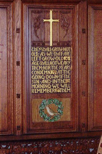Ode of Remembrance - War memorial in ChristChurch Cathedral, Christchurch, NZ