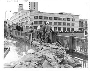 The Oregon Journal - The Oregon Journal Building of 1948–61 (former Portland Public Market building) during the Christmas flood of 1964