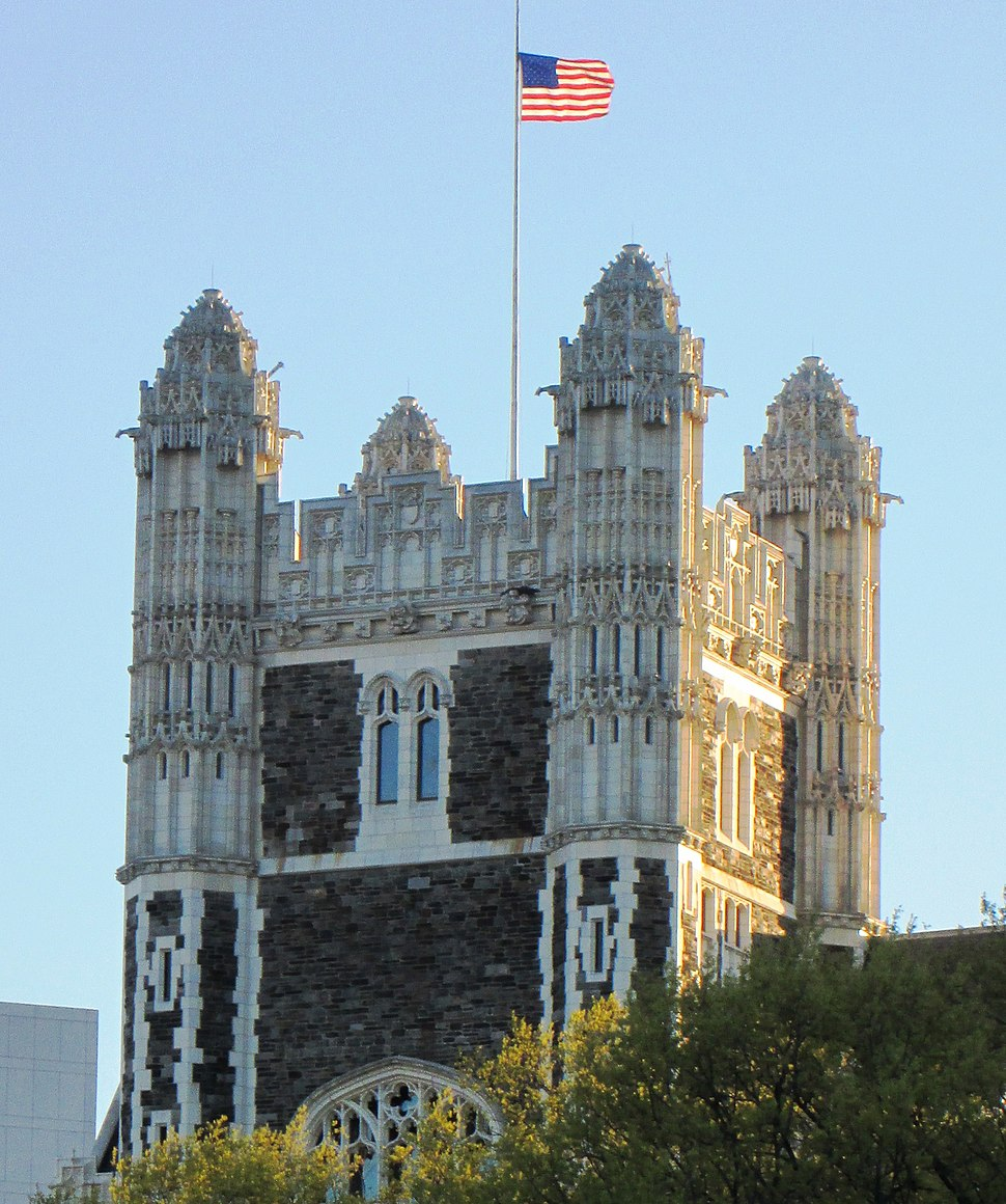 City College of New York tower top from St. Nicholas Avenue